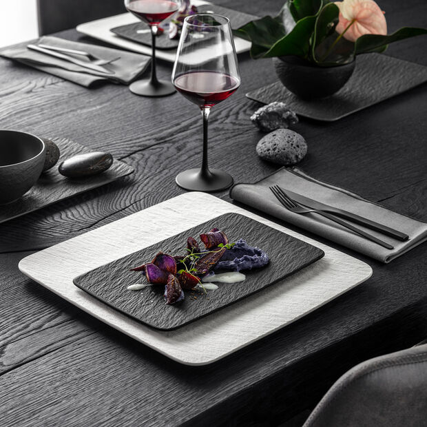 Manufacture Rock rectangular multifunctional plate, black/grey, 28 x 17 x 1 cm, , large