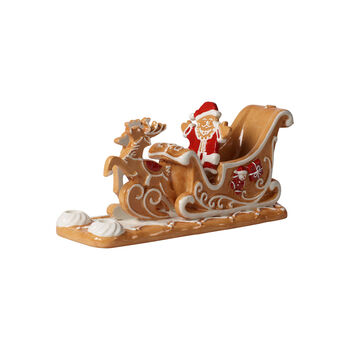 Winter Bakery Decoration gingerbread sleigh, brown/white, 23 x 8 x 10 cm