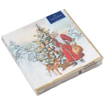 Winter Specials L-Napkin Santa with fir tree 33x33cm