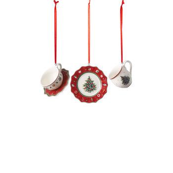 Toy's Delight Decoration ornament set crockery, red, 4 x 7 cm, 3 pieces