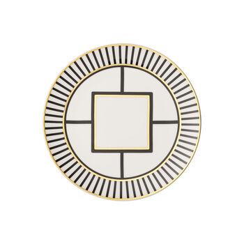 MetroChic dessert/breakfast plate, white/black/gold