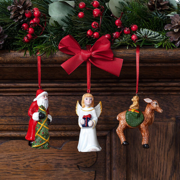 Nostalgic Ornaments ornament set Santa/angel/deer, 8 x 4 cm, 3 pieces, , large
