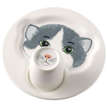 Animal Friends Plate with mug, cat