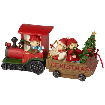 Winter Collage Accessoires Christmas train with children 29x8x13,5cm