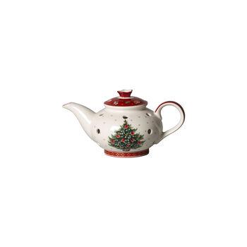 Toy's Delight Decoration tea light holder coffee pot, white/red, 16 x 9.5 x 9 cm