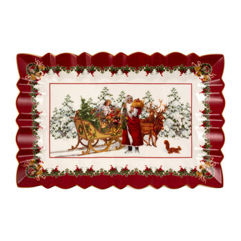 Toy's Fantasy rectangular cake plate Santa with sleigh, multicoloured/red/white, 35 x 23 x 3.5 cm