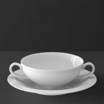 White Pearl Soup cup & saucer 2pcs
