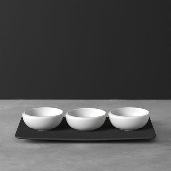 NewMoon dip bowl set, 4 pieces, white/slate