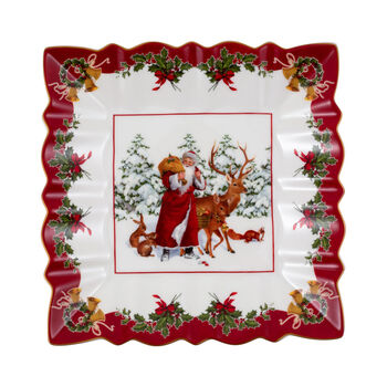 Toy's Fantasy square bowl Santa with forest animals, multicoloured/red/white, 23 x 23 x 3.5 cm