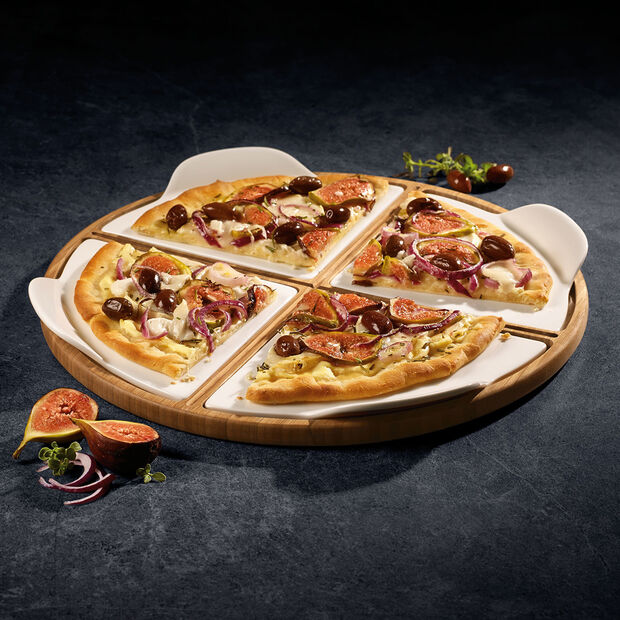 Pizza plate with pizza slice plates for 4 people, , large
