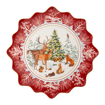 Toy's Fantasy large biscuit plate forest animals, multicoloured/red/white, 42 x 42 x 2 cm