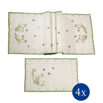 Colourful Spring Table linen set, snowdrops, 5pcs