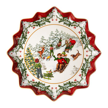 Toy's Fantasy deep biscuit plate sleigh ride, multicoloured/red/white, 39 x 39 x 3.5 cm