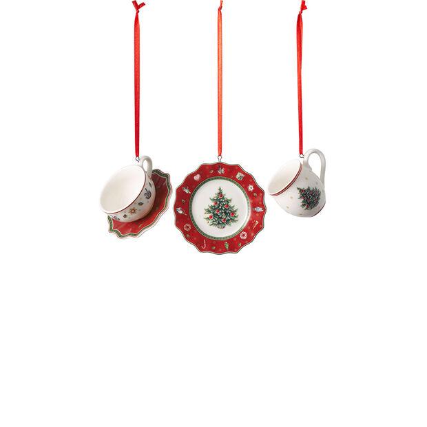 Toy's Delight Decoration ornament set crockery, red, 4 x 7 cm, 3 pieces, , large