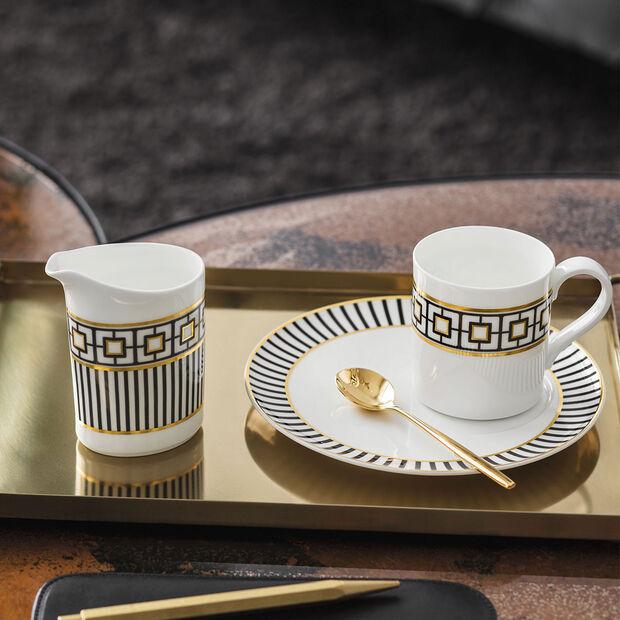MetroChic mocha/espresso cup, 80 ml, white/black/gold, , large