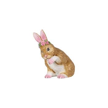 Easter Bunnies Bunny small, preening with flower wreath 9x5,5x10cm