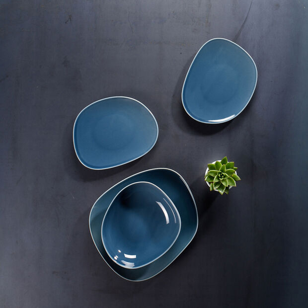 Organic Turquoise breakfast plate 21 x 17 x 2cm, , large