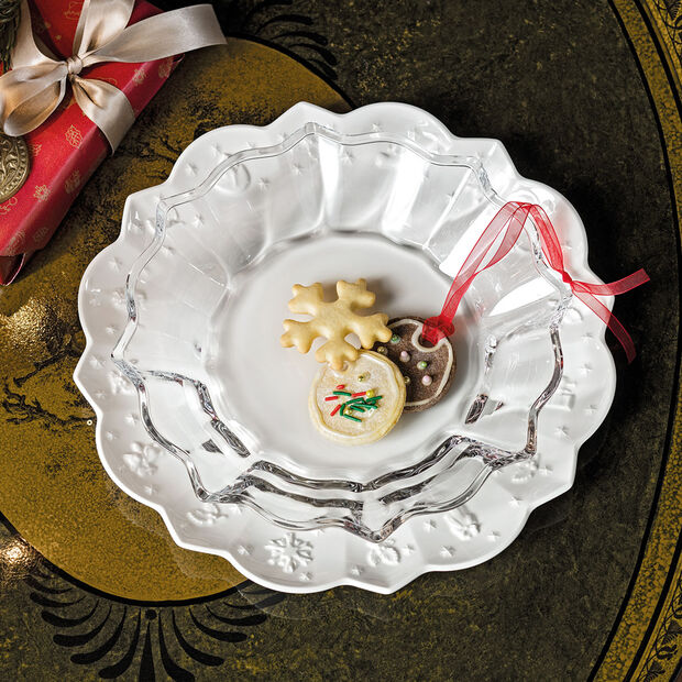 Christmas Glass Accessories bowl, clear, 25 cm, 850 ml, , large