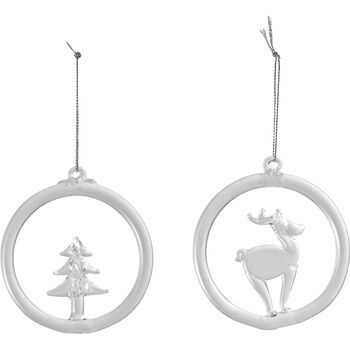 Christmas Decoration glass hanging ornament reindeer and tree, 8.5 cm