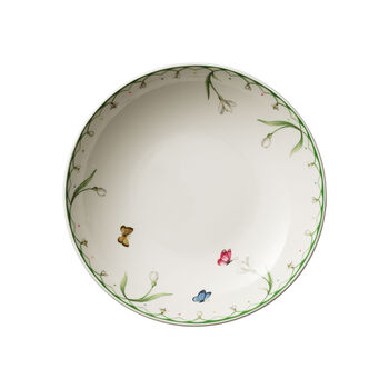 Colourful Spring flat bowl, 1.1 l, white/green