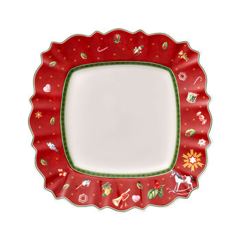 Toy's Delight square dinner plate, red/multicoloured, 28 x 28 cm