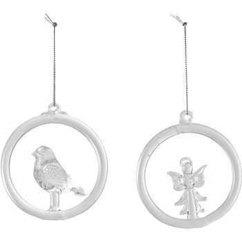 Christmas Decoration Glass Hanger Bird and Angel 8,5cm
