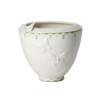 Colourful Spring wide vase, white/green
