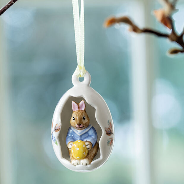 Bunny Tales ornament egg Max, blue flowers, 7 cm, , large