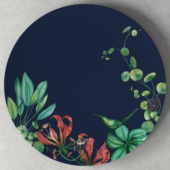 Avarua cake plate, 33 cm, blue/multicoloured