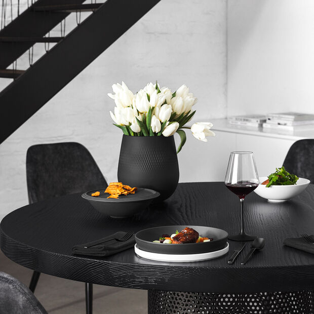 Manufacture Collier noir Vase Carré large 20,5x20,5x22,5cm, , large