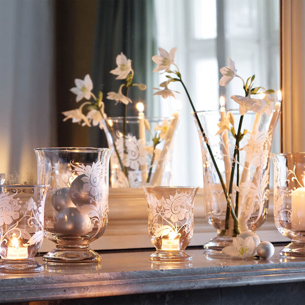 Helium with flower ornament Hurricane lamp 235mm, , large