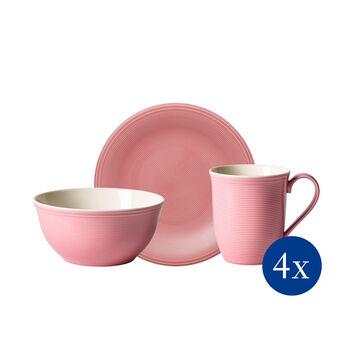 Color Loop Rose breakfast set, rose, 12 pieces