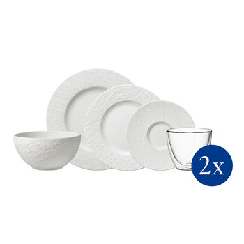 Manufacture Rock tableware set, 10 pieces, for 2 people, white