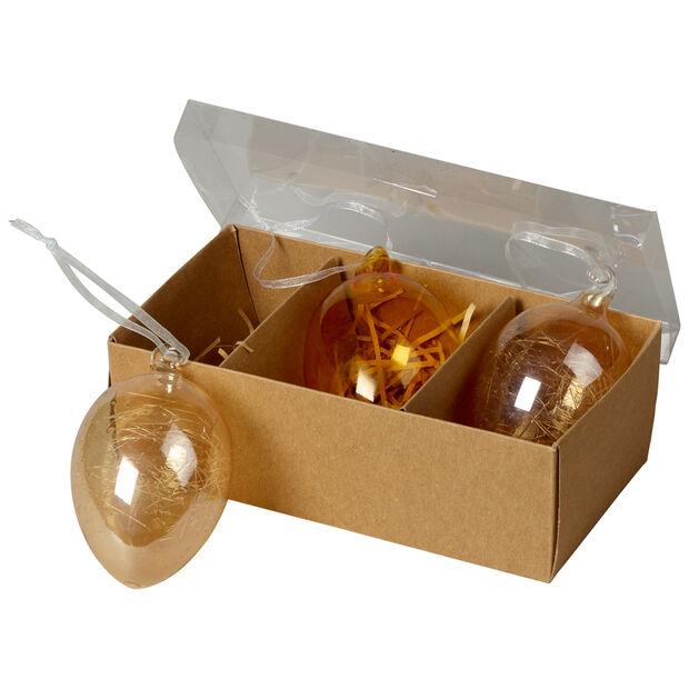 Spring Fantasy Accessories Glass Eggs Set 3 9x6cm, , large