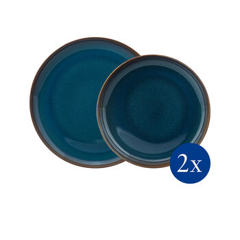 Crafted Denim dinner set, blue, 4 pieces