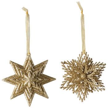 Christmas Decoration Decohanger Star/Snowflake gold Set 2 10cm