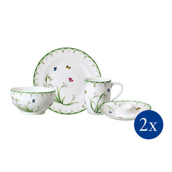 Colourful Spring breakfast set, for 2 people, 8 pieces