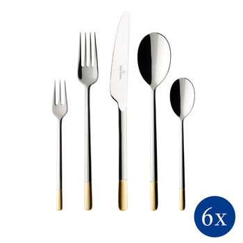 Ella partially gold-plated table cutlery 30 pieces 42 x 27 x 5 cm