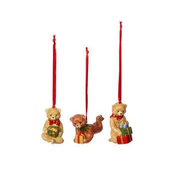 Nostalgic Ornaments ornament set teddy, multicoloured, 3 pieces, 9.5 cm