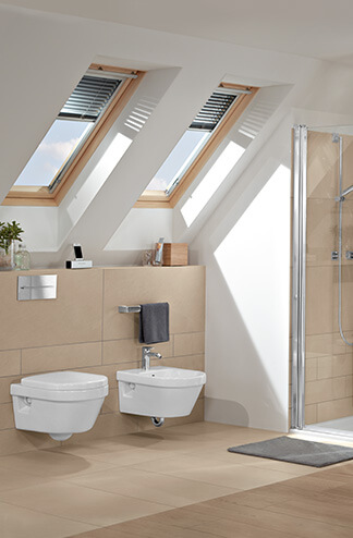Bath under a sloping roof - Clever use of space - Villeroy & Boch on paint ideas for rooms with vaulted ceilings, attic half-bathroom, attic bathroom plumbing, bathrooms with open ceilings, bathrooms with vaulted ceilings, attic bathroom with windows, bathrooms with tin ceilings, attic bathrooms with low ceilings, attic bathroom layout, bathrooms with angled ceilings, bathrooms with beadboard ceilings, attic master bathroom, attic remodeling before and after, attic bathroom shower, attic bedrooms, unique bathroom ceilings, attic master suite, finished attics with low ceilings, rooms with slanted ceilings, attic bathrooms with skylights,